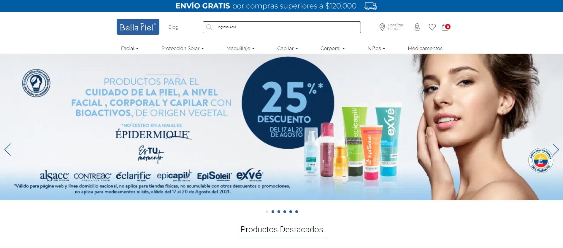 Ejemplos B2C de e-commerce exitosos en Colombia de Belleza en 2021: Bella Piel