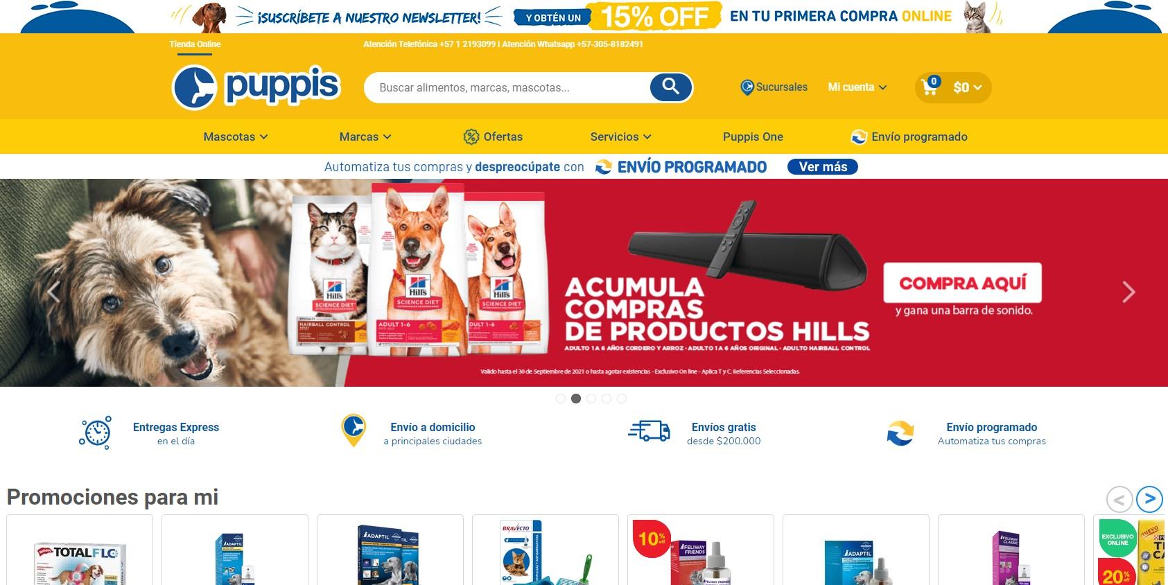 Ejemplos B2C de e-commerce exitosos en Colombia de Mascotas en 2021: Puppis