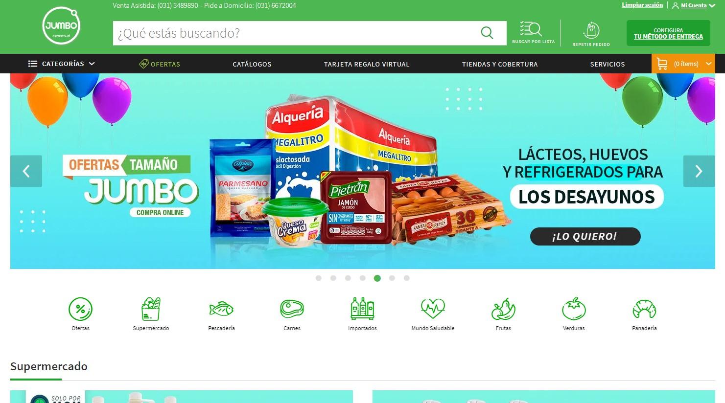 Ejemplos B2C de e-commerce exitosos de Retail en Colombia 2021: Jumbo - Cencosud
